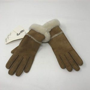 NWT UGG Sheepskin Slim Gloves Brown Size Small